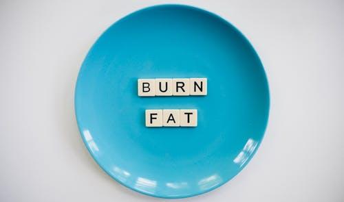 お皿の上にBURNFATと書いてある画像